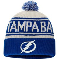 Tampa Bay Lightning Fanatics Branded True Classic Z Route Cuffed Knit Hat with Pom - White - OSFA