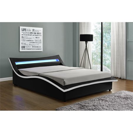 Kingway Furniture Hayton LED Storage Platform California King Bed in Black/White