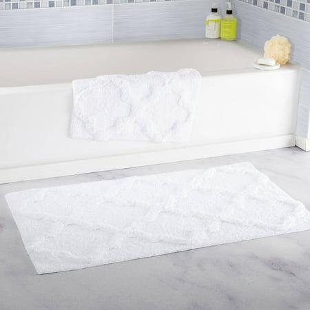 Somerset Home 100% Cotton 2-Piece Trellis Bathroom Mat Set - White ()