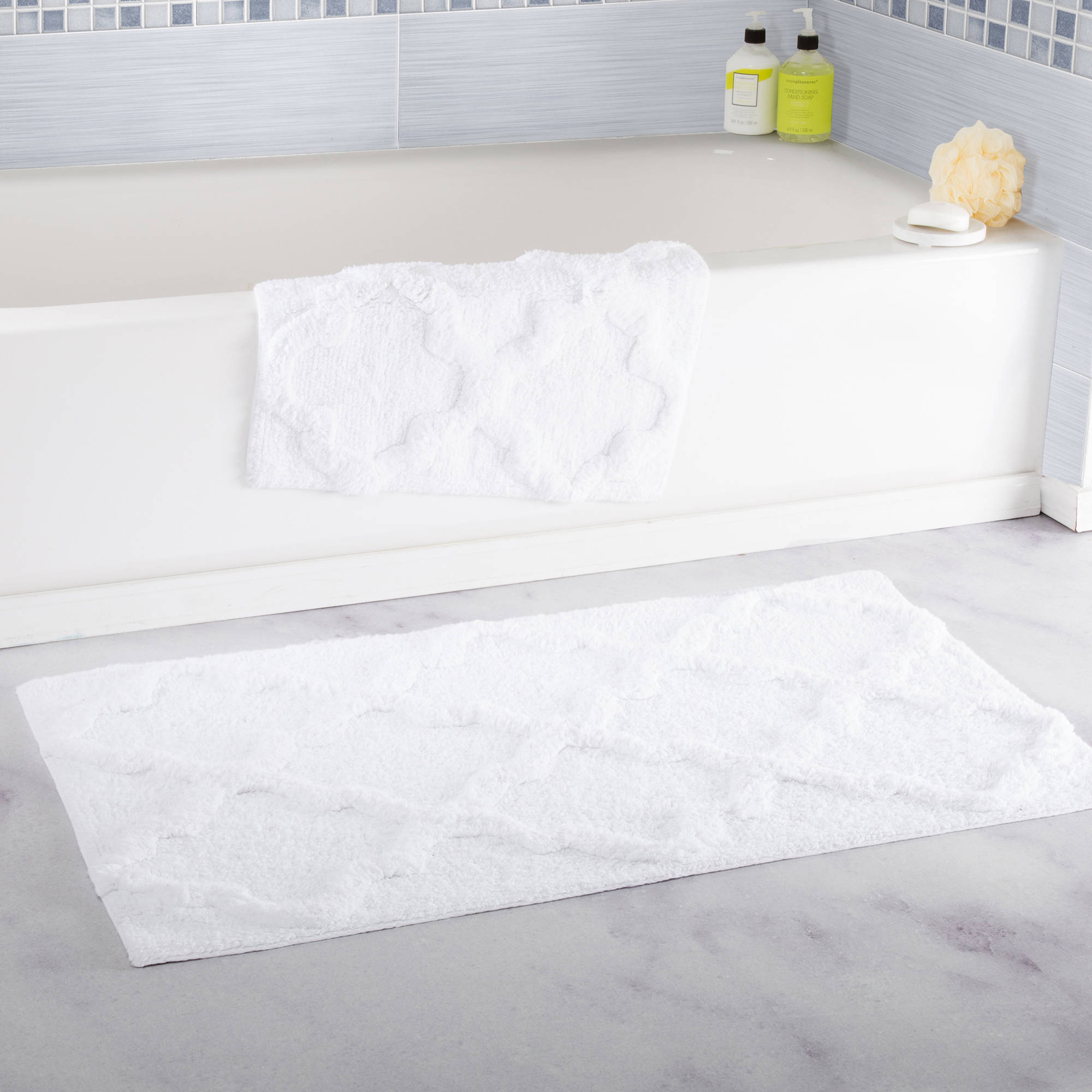 Somerset Home 100% Cotton 2-Piece Trellis Bathroom Mat Set - White