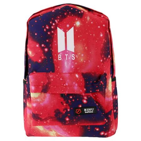 Fancyleo New Hot Star BTS Canvas Backpack Luminous School Bag Starry Sky Shoulder Bag