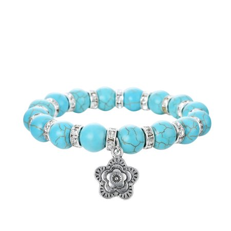 Vintage Spacer - Faux Turquoise Round Stone Stretch Bracelet w/ Crystal Spacers & a Rhodium Plated Vintage Flower Pendant By JADA Collections