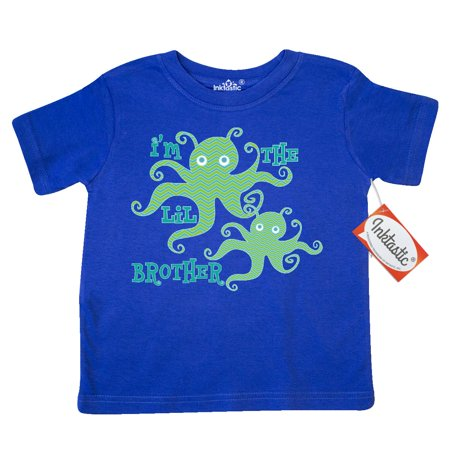 Inktastic Little Brother Octopus Boys Toddler T Shirt Im The Siblings New Baby Cute Chevron Striped Sea Creature Ocean Animals Adorable Lil Bro Arrival Boy Tees  Gift Child Preschooler Kid Clothing