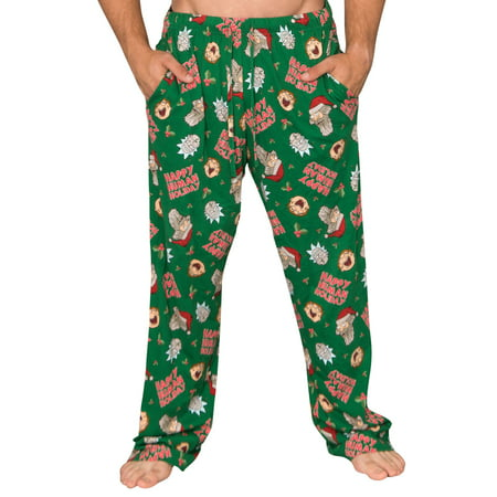 Rick and Morty Happy Human Holidays Green Lounge Pants (Adult Large)