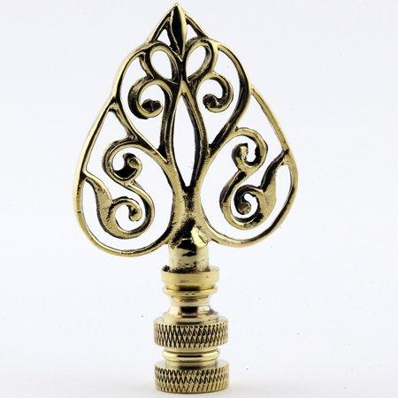 Polished Brass Filigree Arrow Lamp Finial with Polished Brass Base 2.75