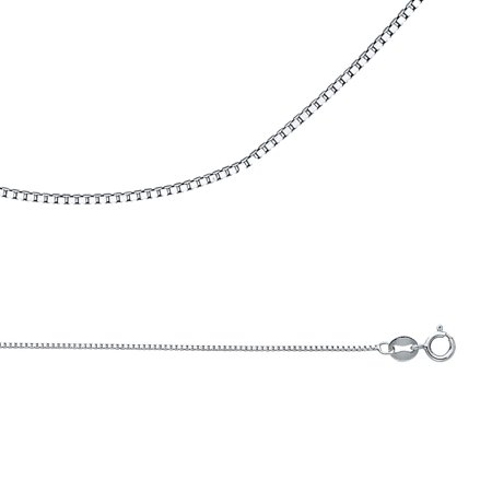 Solid 14k White Gold Necklace Box Chain Plain Square Links Polished Finish Thin Style, 0.8 mm - 16,18,22,24 inch