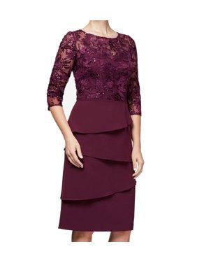 Womens Dress Petite Sheath Lace Tiered 14P