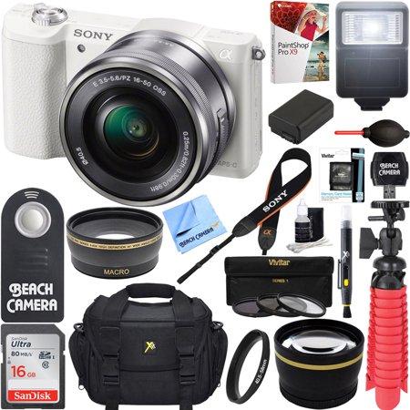 Sony Alpha a5100 HD 1080p Mirrorless Digital Camera White + 16-50mm Lens Kit + 16GB Accessory Bundle + DSLR Photo Bag + Extra Battery + Wide Angle Lens + 2x Telephoto Lens + Flash + Remote + Tripod