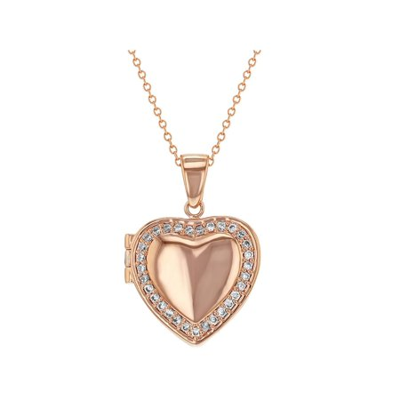 Plated Heart Locket (Rose Gold Plated Clear CZ Heart Shaped Locket Necklace Pendant Photo 18