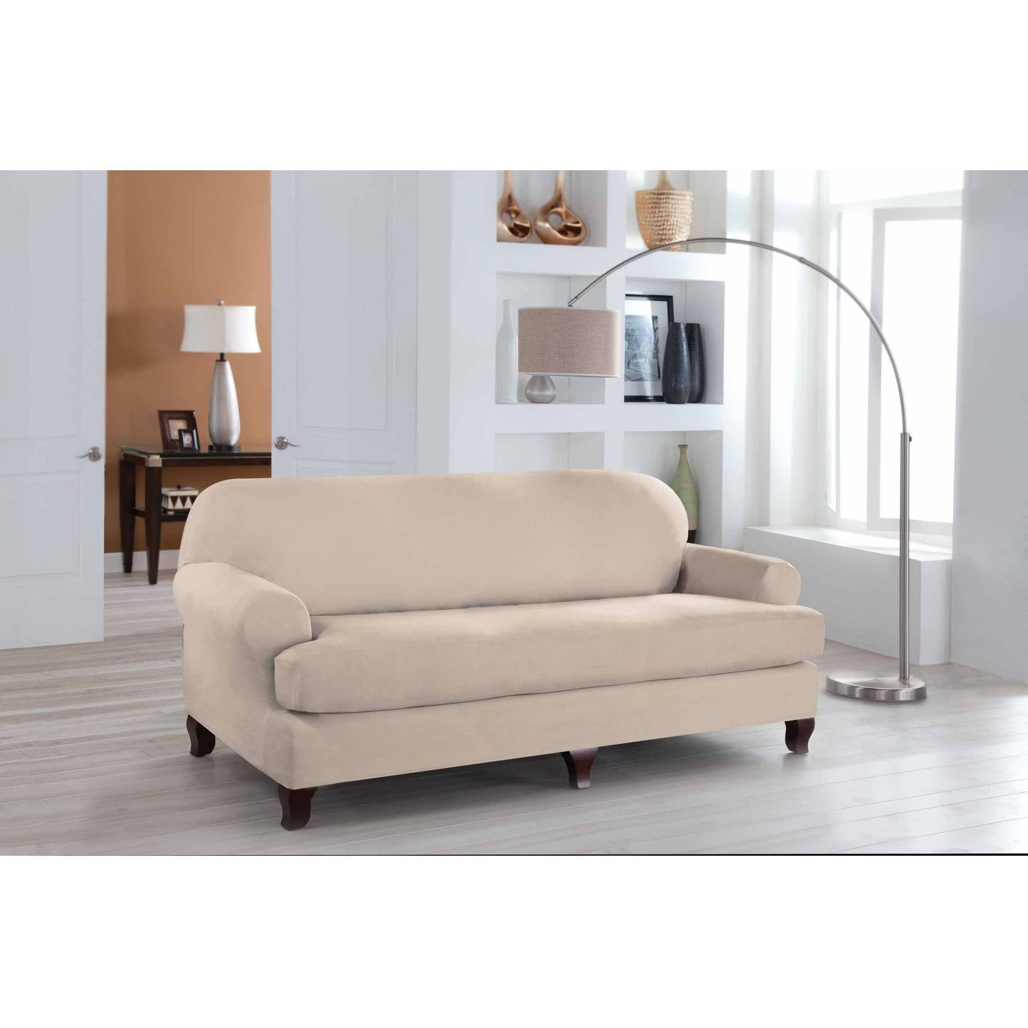 Serta Stretch Fit Microsuede Slipcover Sofa 2 Piece T Cushion Walmart