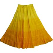 Missy Plus Bohemian Gauze Cotton Tiered Crinkled Broomstick Long Skirt Ombre (Yellow)