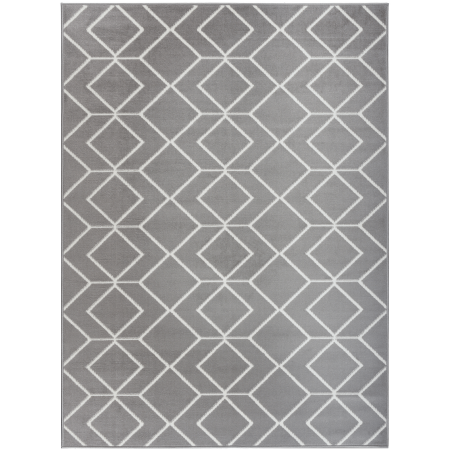 Antep Rugs Kashan King Collection 507 Trellis Polypropylene Indoor Area Rug Grey and Cream 5' X 7'