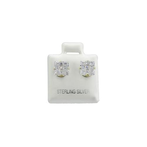 ZilverZoom SICZ100-9MM Sterling Silver Cz 9mm Square Invisible Studs