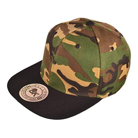 Buck Caps Unisex Flat Bill Camo Pattern Snapback Hat