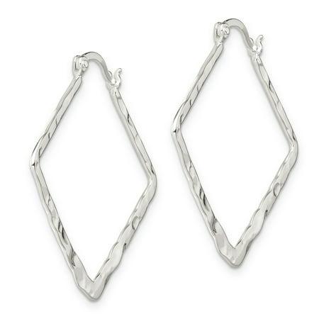 Sterling Silver Hammered & Polished Fancy Hoop Earrings QE6798 - image 1 de 2