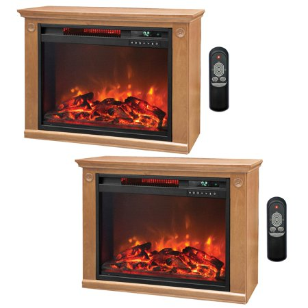 Lifesmart 3 Element Quartz Infrared Electric Portable Fireplace Heaters (Pair)