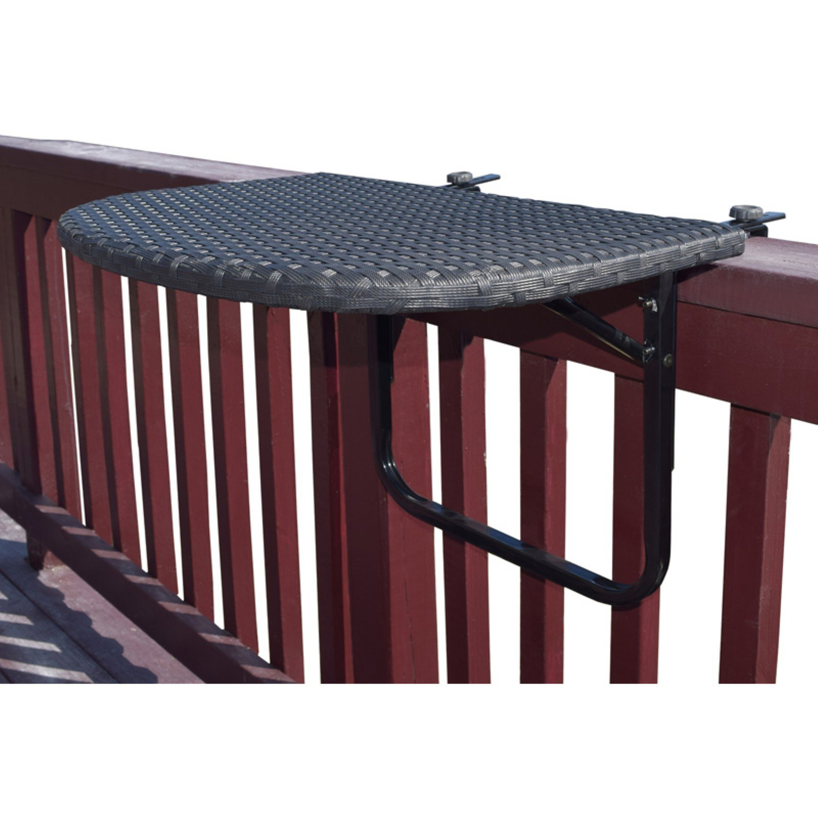 Oakland Living Wicker and Metal Indoor/Outdoor Foldable Balcony Table with Adjustable Clamps