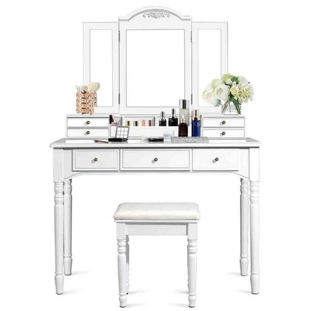 Top 7 Drawers Tri Folding Vanity, Mirrored Dressing Table Set Next