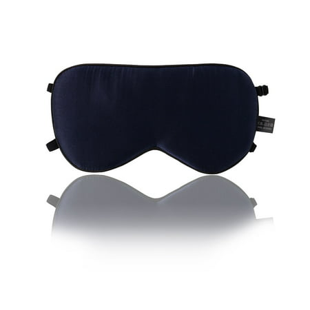 Eze Pillow - Silk Sleep Mask with Adjustable Strap Super-smooth Eye Mask Navy Blue-2 Straps