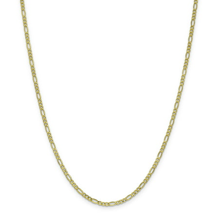 10k Yellow Gold 2.5mm Link Figaro Necklace Chain Pendant Charm