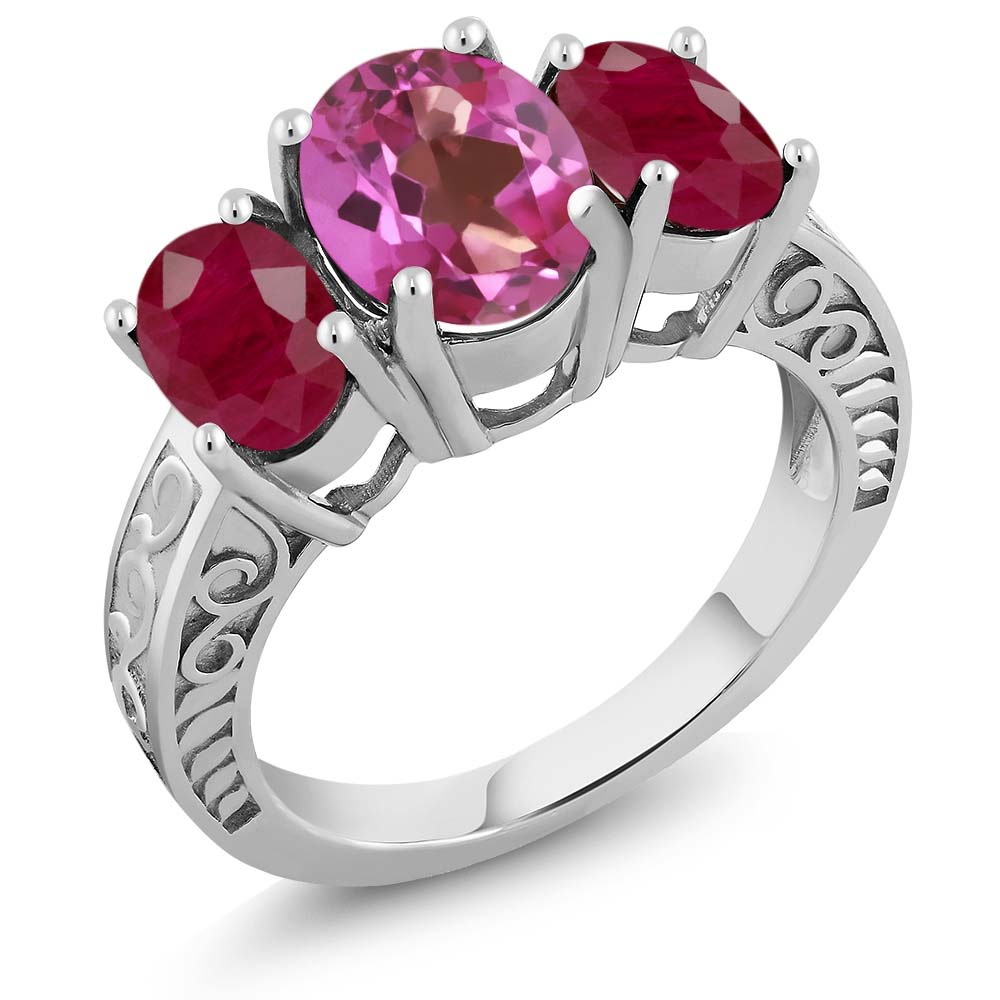 3.84 Ct Oval Pink Mystic Topaz Red Ruby 925 Sterling Silver Ring by