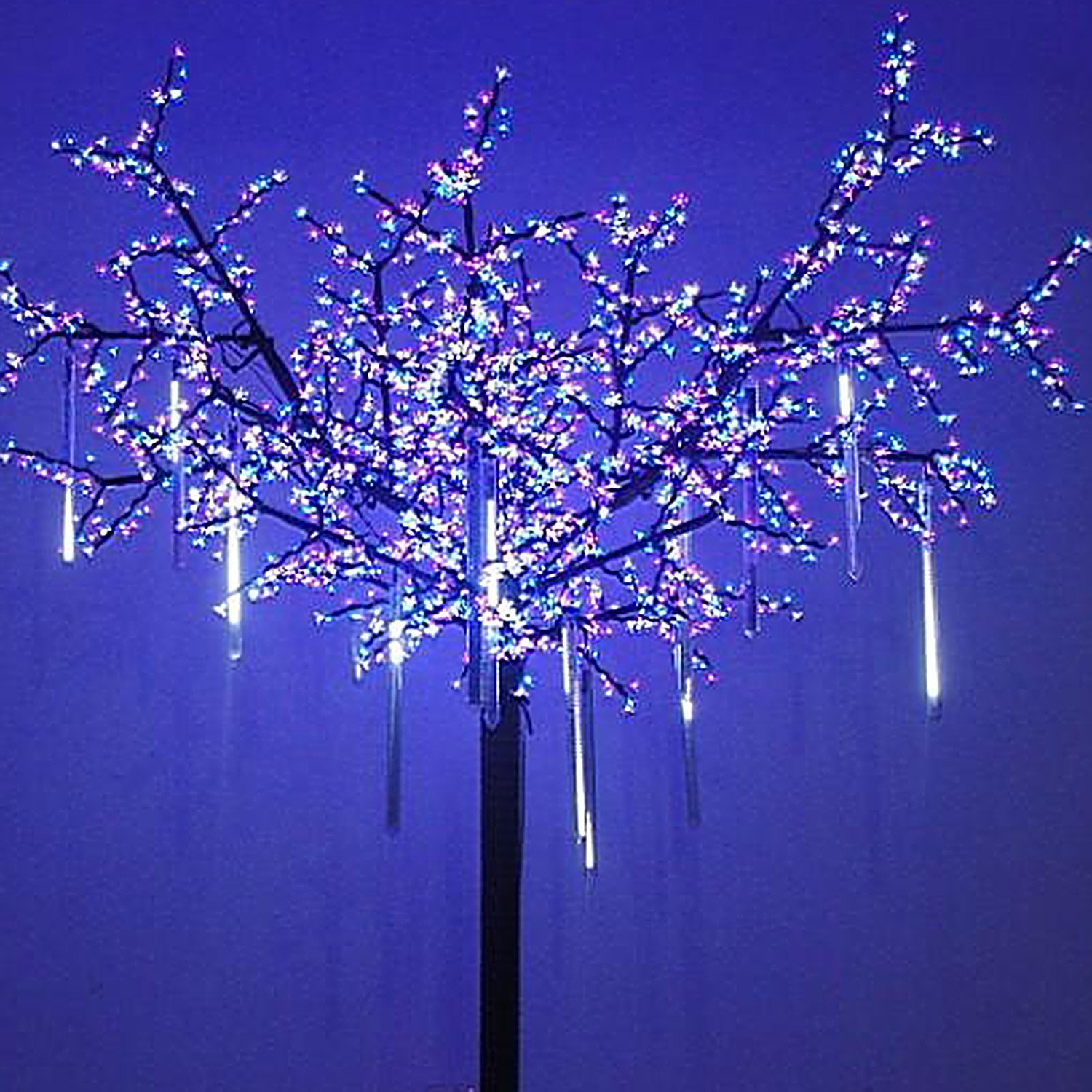 Christmas Lights That Look Like Water Falling.8 Falling Rain Drop Icicle Snow Fall String Led Xmas Tree Cascading Light Decor White Us Plug