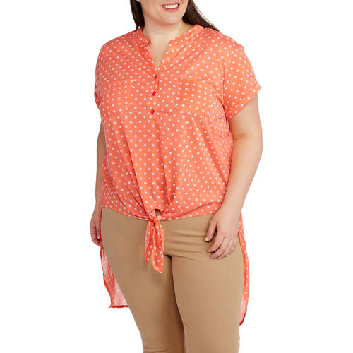 French Laundry  Women's Plus Polka Dot Hi-Low Henley With Chiffon Back