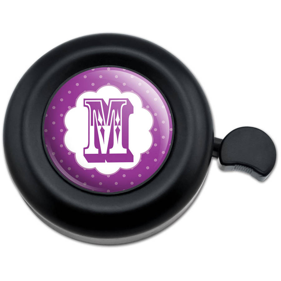 Letter M Initial Flower Purple Bicycle Handlebar Bike Bell