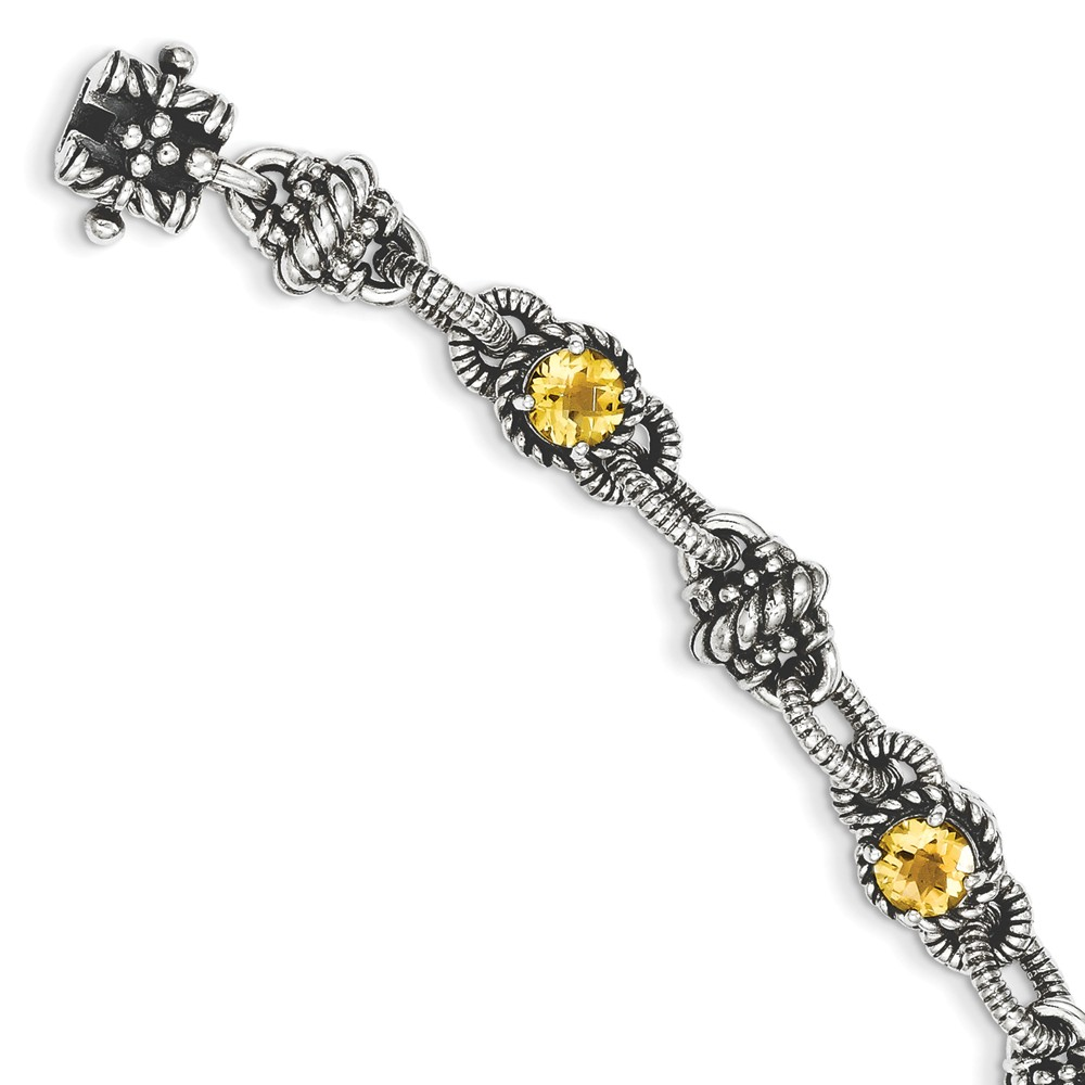 Solid 925 Sterling Silver Simulated Citrine Bracelet (10mm) by AA Jewels