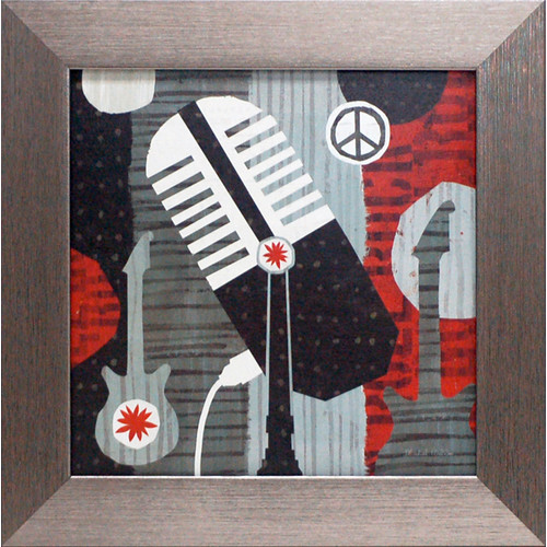 Artistic Reflections Rock n Roll Mic by Mullan, Michael Framed Graphic Art