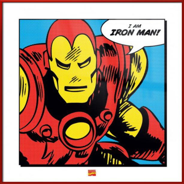 "Iron Man - Marvel Comics Pop-Art Poster / Art Print (Quote: I Am IRON MAN!) (Size: 16"" x 16"")"