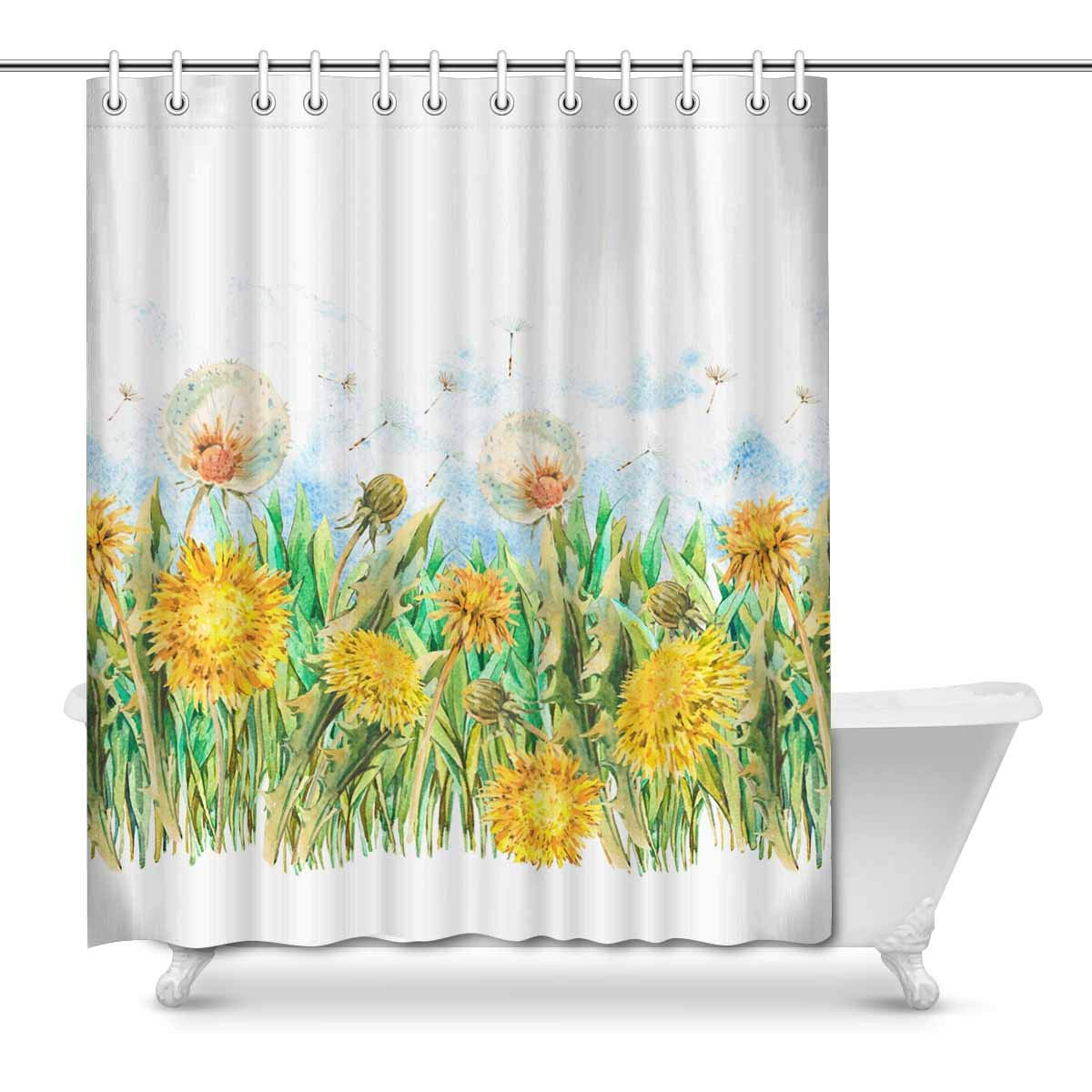 YUSDECOR Watercolor Spring Flowers Yellow White Dandelions Butterfly House  Decor Shower Curtain Bathroom Decorative Bathroom Shower Curtain Set Rings