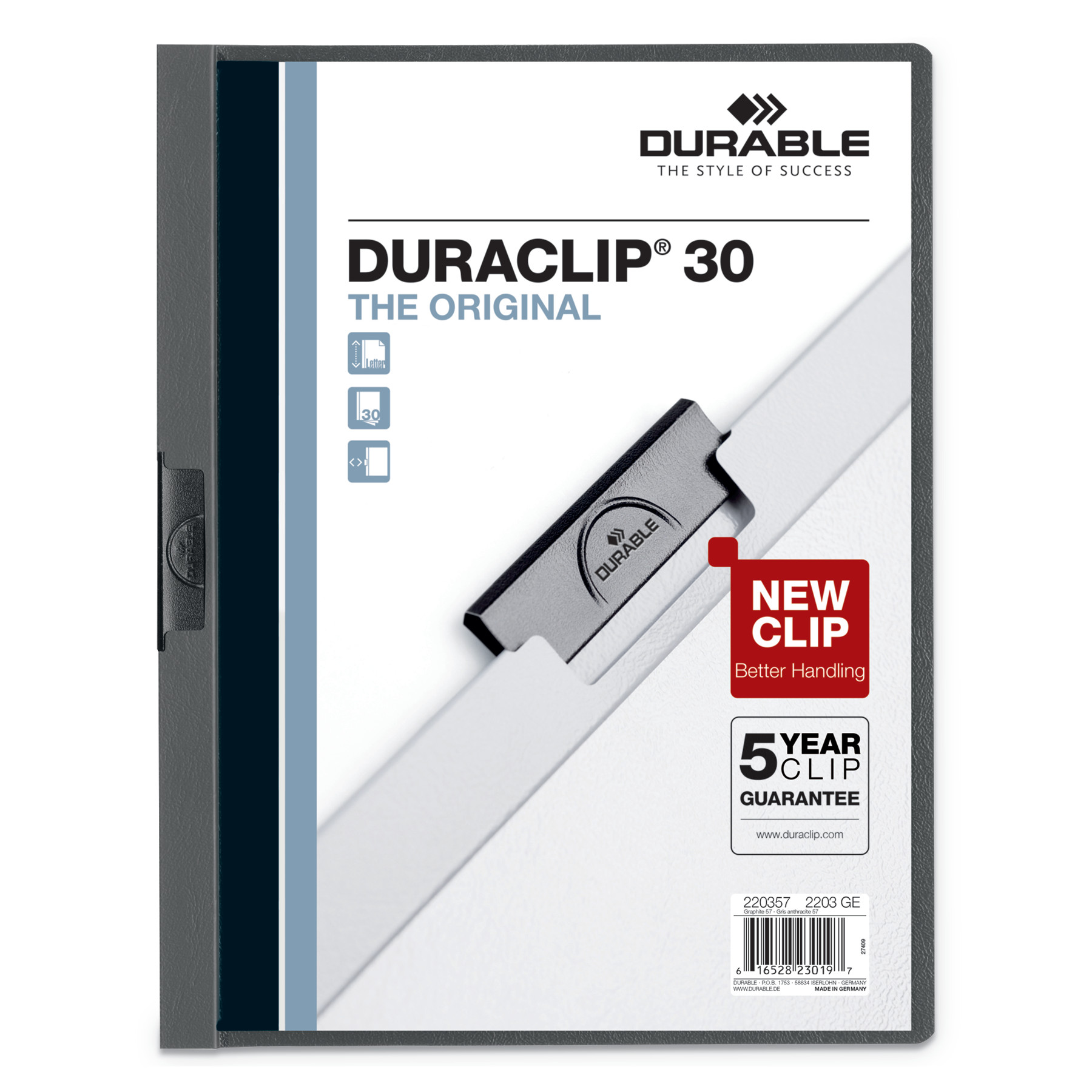 Durable Vinyl DuraClip Report Cover, Letter, Holds 30 Pages, Clear/Graphite, 25/Box -DBL220357