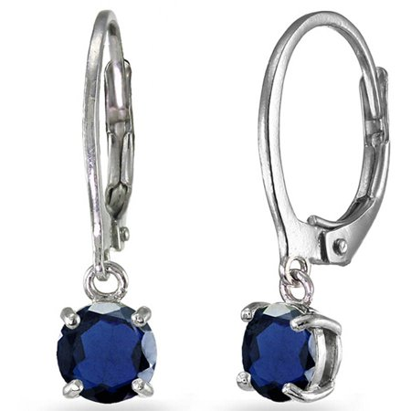 - Created Blue Sapphire Sterling Silver 6mm Round Dangle Leverback Earrings