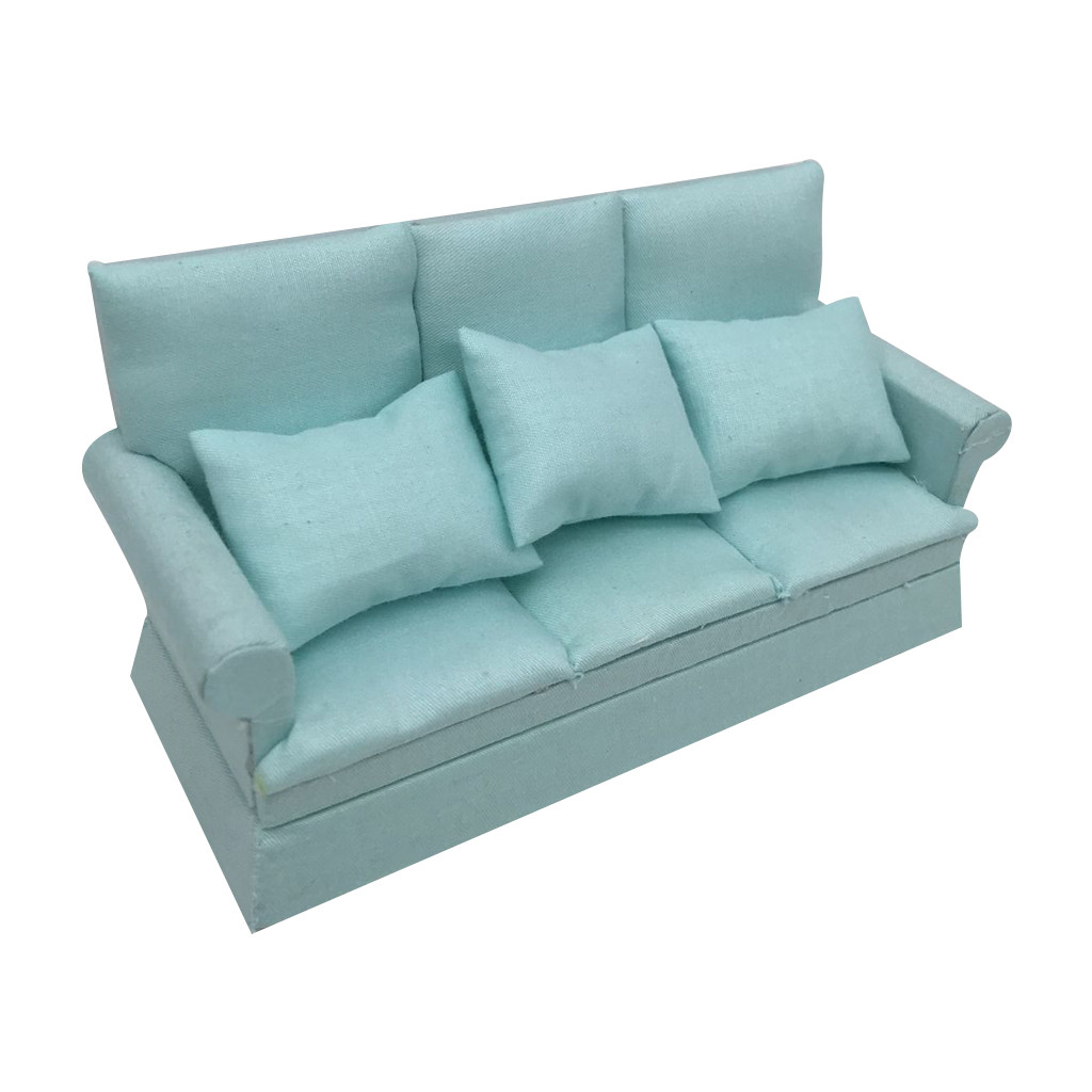 1//12 Wood Sofa Couch Cushions Set Dollhouse Living Room Furniture Accessories