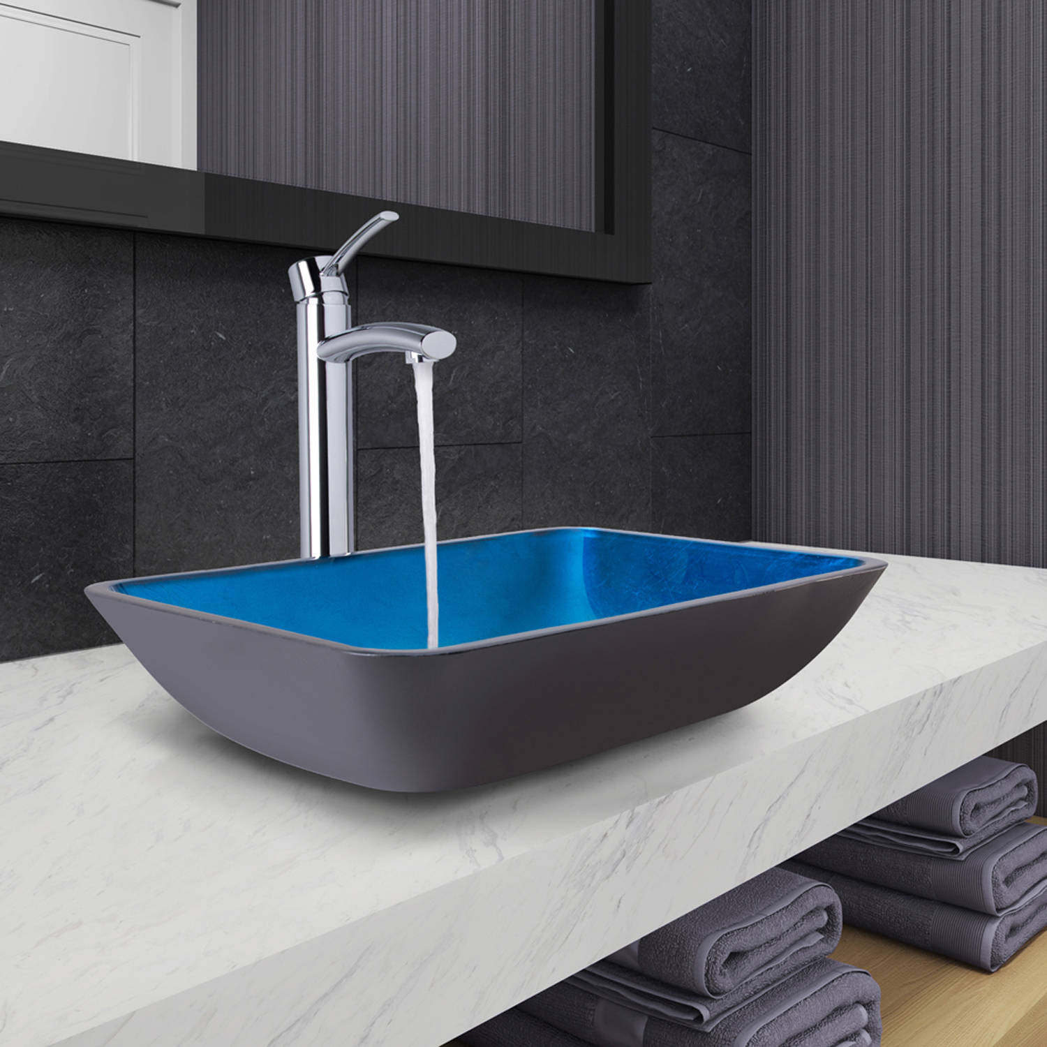 "Vigo VGT1074 18-1/4"" Glass Bathroom Vessel Sink with Milo Single Hole Bathroom Faucet - Drain Assembly Included"