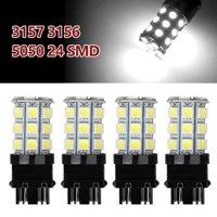 TSV Super Bright 3157 LED Light Bulbs 27SMD 6000K White Pack of 4, Brake Lights, Reverse Lights, Reverse Tail Lights, Turn Signal Led, 3056 3156 3057 3157 4157 LED Bulbs