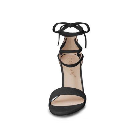 Women Open Toe Chunky Heel Lace Up Dress Sandals Black US 6.5 - image 2 de 7