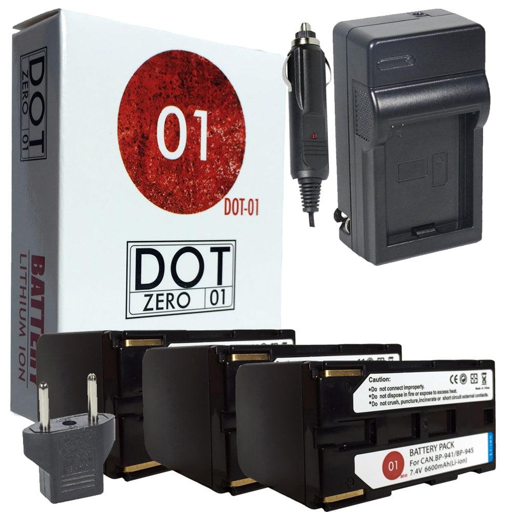 3x DOT-01 Brand 6600 mAh Replacement Canon BP-941 Batteri...
