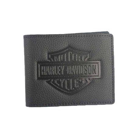 Harley-Davidson Men's Embossed B&S Logo Leather Billfold Wallet XML3554-BLACK, Harley Davidson Embossed Leather Billfold