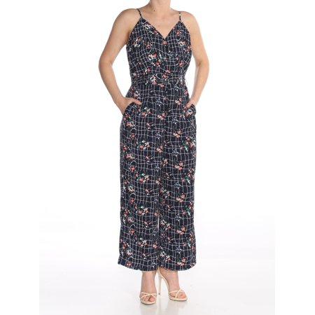 Capri Jumpsuit - MAISON JULES Womens Navy Belted Floral Print V Neck Capri Jumpsuit  Size: 6