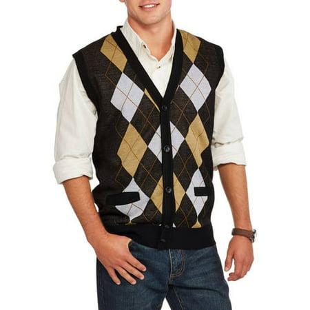 dc82f965d Ten West Men s Cardigan Pocket Argyle Sweater Vest - Walmart.com