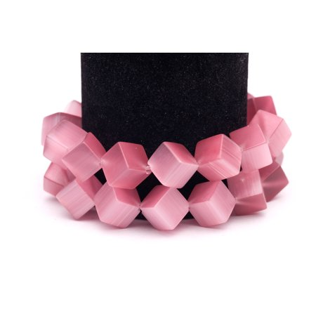 Ruby Cat's Eye Beads Diagonal Cube Fiber Optic Glass Beads 13mm ()