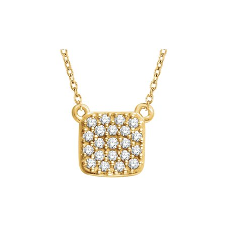 14K Yellow Gold 1/6 CTW Diamond Square Cluster Pendant Necklace 18Inch (Yellow Gold Diamond Square Pendant)