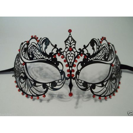 Black Ruby Red Crystal Beauty Laser Cut Venetian Mask Masquerade Metal Filigree](Masquerade Masks Red)