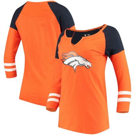Denver Broncos 5th & Ocean by New Era Women's Split Slub Scoop Neck 3/4-Sleeve T-Shirt - Orange - Denver Broncos Halloween