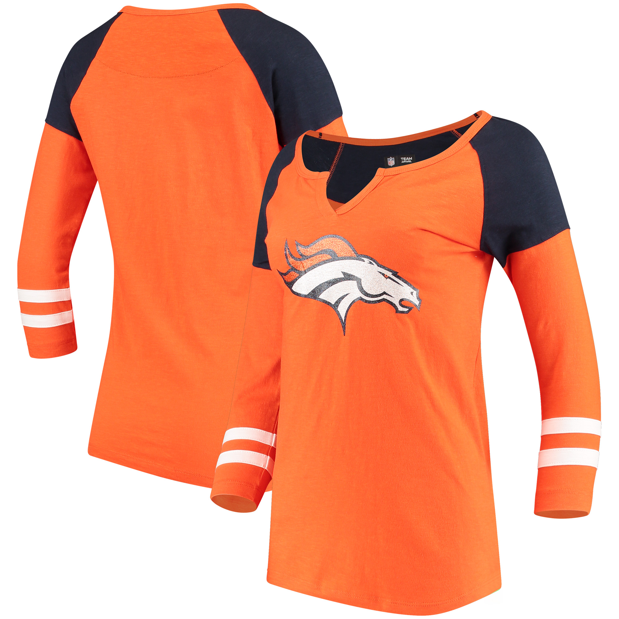 Denver Broncos 5th & Ocean by New Era Women's Split Slub Scoop Neck 3/4-Sleeve T-Shirt - Orange