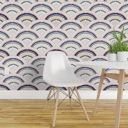 Removable Water Activated Wallpaper Scallop Mosaic Japanese Inspired S