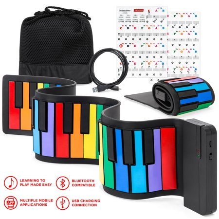 Best Choice Products Kids 49-Key Portable Flexible Roll-Up Piano Keyboard Toy w/ Learn-To-Play App Game, Bluetooth Pairing, Note Labels (Best Progressive House Labels)