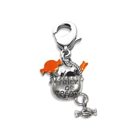 Trick or Treat Charm Dangle in Silver - Halloween Charms Wholesale
